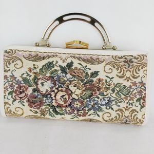 Vintage tapestry clutche bag with metal handle